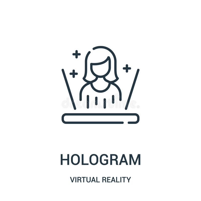 hologram icon vector from virtual reality collection. Thin line hologram outline icon vector illustration royalty free illustration