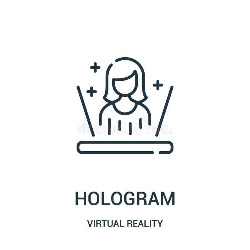 hologram ikony wektor od rzeczywistości wirtualnej kolekcji Cienka kreskowa holograma konturu ikony wektoru ilustracja royalty ilustracja