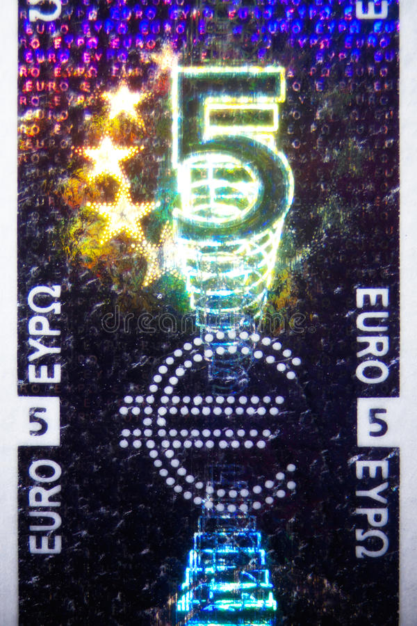 Hologram na Euro Bill fotografia stock