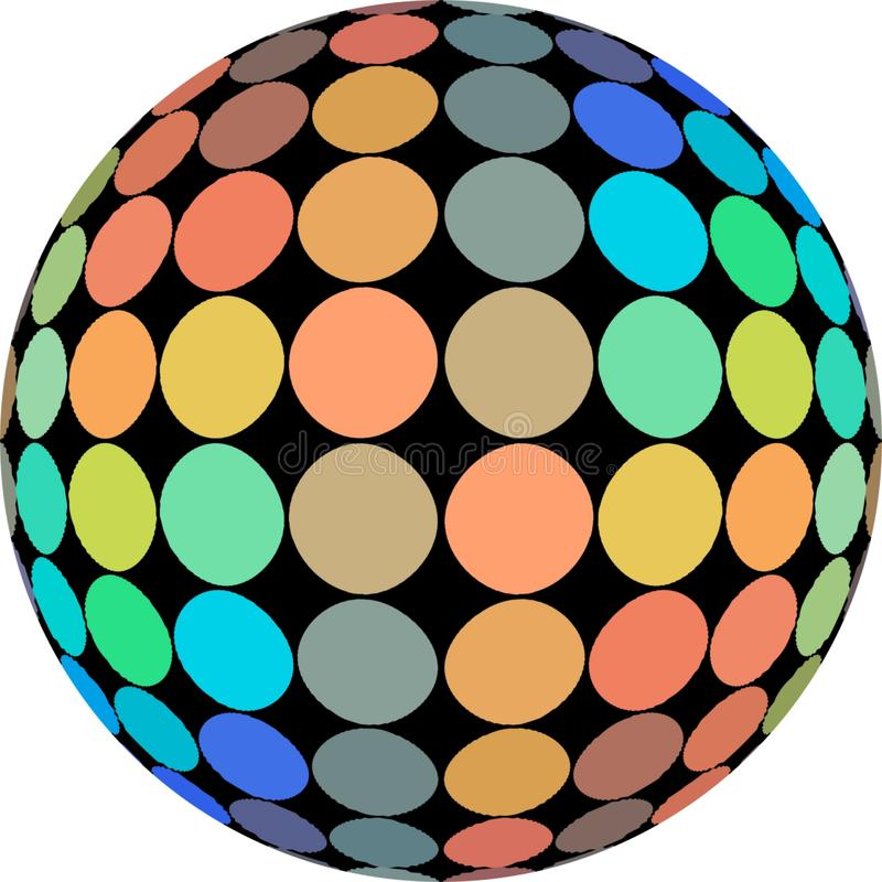Hologram polka dots macro on ball 3d isolated on white background. Orange blue green yellow gradient. Creative bright icon. vector illustration