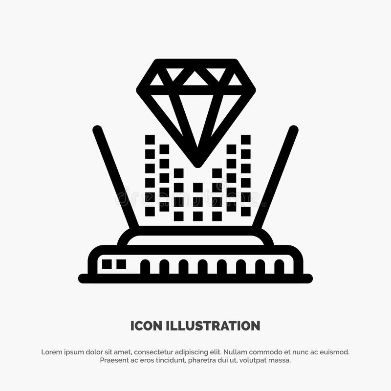 Hologram, Projectie, Technologie, Diamond Line Icon Vector vector illustratie