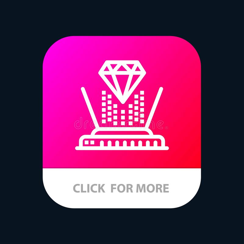 Hologram, Projectie, Technologie, Diamond Mobile App Button Android en IOS Lijnversie vector illustratie
