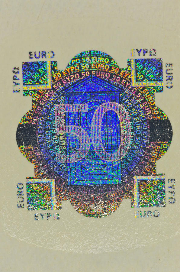 Download Hologram Protection On 50 Euro Banknote Royalty Free Stock Photography - Image: 22436337