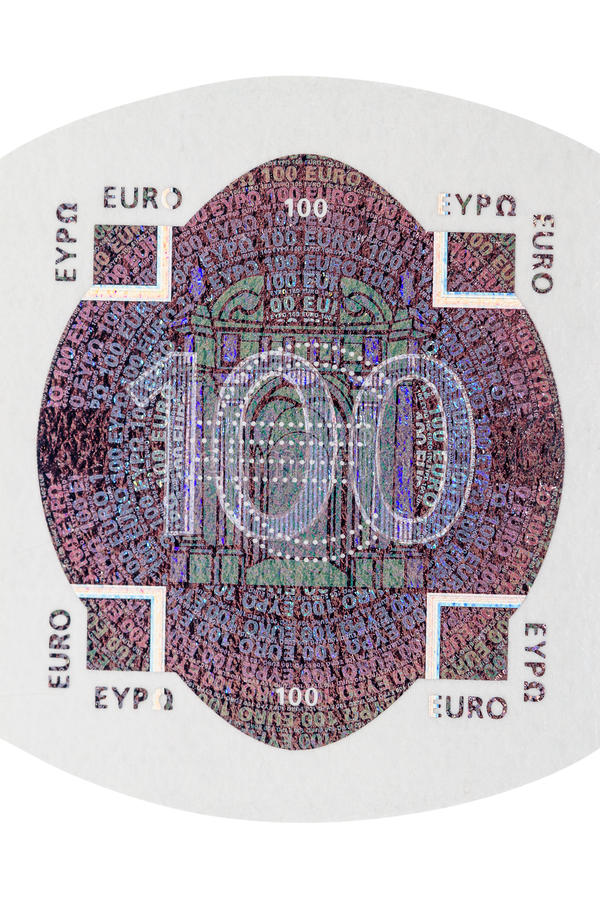 Download One Hundred Euro Note Hologram Stock Photo - Image: 29873976