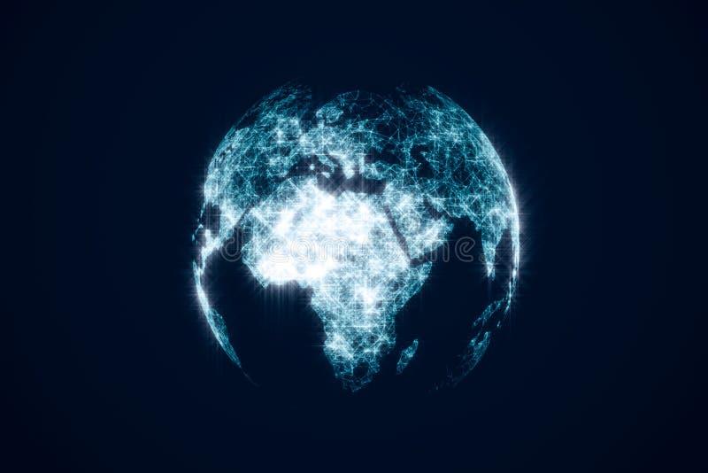 Hologram van de aarde op de donkere achtergrond Globaal bedrijfstechnologieënconcept royalty-vrije stock foto