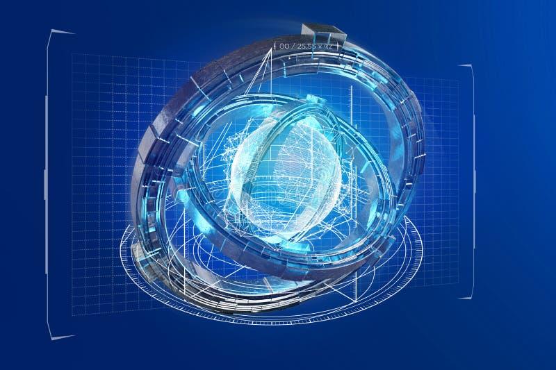 Hologram van wiel met een futuristische gegevensinterface wordt gemaakt - 3d ren die vector illustratie