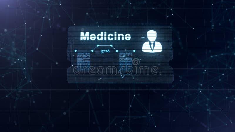 Holograma abstracto Tarjeta de la medicina con el tiro y la muestra principales del ritmo card?aco, de la presi?n y de algunos ot ilustración del vector