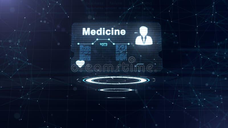 Holograma abstracto Tarjeta de la medicina con el tiro y la muestra principales del ritmo card?aco, de la presi?n y de algunos ot libre illustration