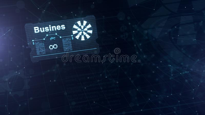 Holograma abstracto Tarjeta de visita con una muestra de dardos, de la rueda dentada blanca y de algunos otros diagramas Azul abs ilustración del vector