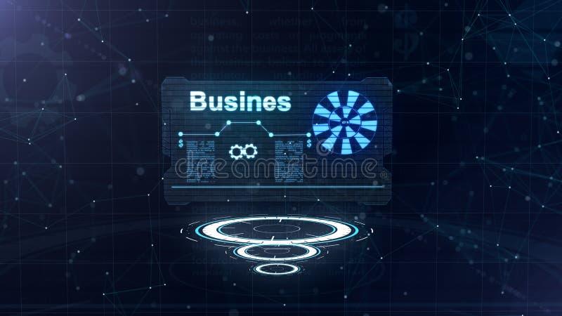 Holograma abstracto Tarjeta de visita con una muestra de dardos, de la rueda dentada y de algunos otros diagramas Fondo azul abst stock de ilustración