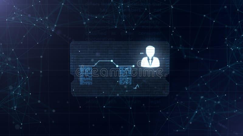 Holograma abstracto Tarjeta de visita con una muestra de dardos, de la rueda dentada y de algunos otros diagramas Fondo azul abst libre illustration