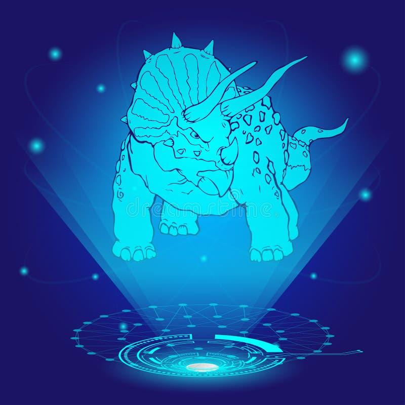 holograma 3D del triceratops ilustración del vector