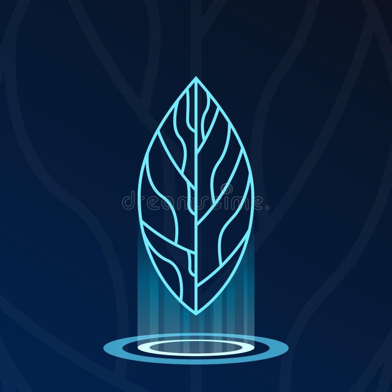 Holograma da folha com logotype das luzes ilustração royalty free