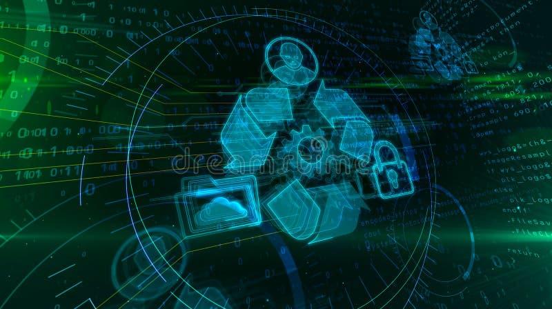 Holograma da gest?o de dados ilustração do vetor