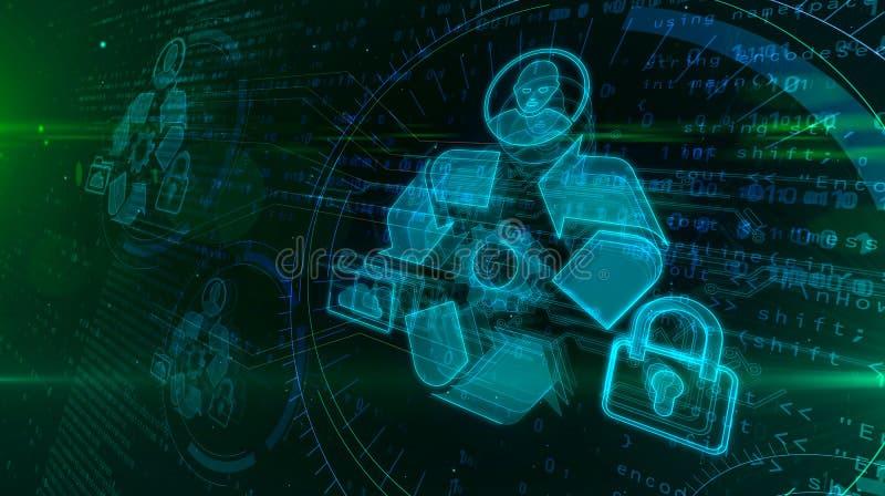Holograma da gest?o de dados ilustração stock