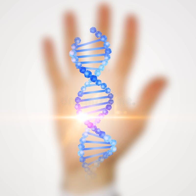 Holograma da hélice do ADN sobre o fundo borrado da mão ilustração royalty free