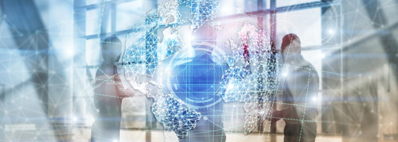 holograma da terra 3D, globo, WWW, negócio global e telecomunicação ilustração do vetor