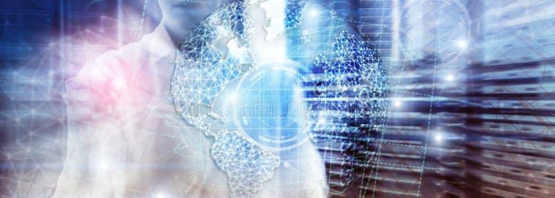 holograma da terra 3D, globo, WWW, negócio global e telecomunicação imagens de stock royalty free