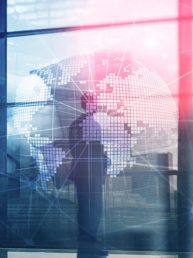 holograma da terra 3D no fundo borrado Conceito do negócio global e da comunicação Formato vertical do projeto abstrato da tampa foto de stock
