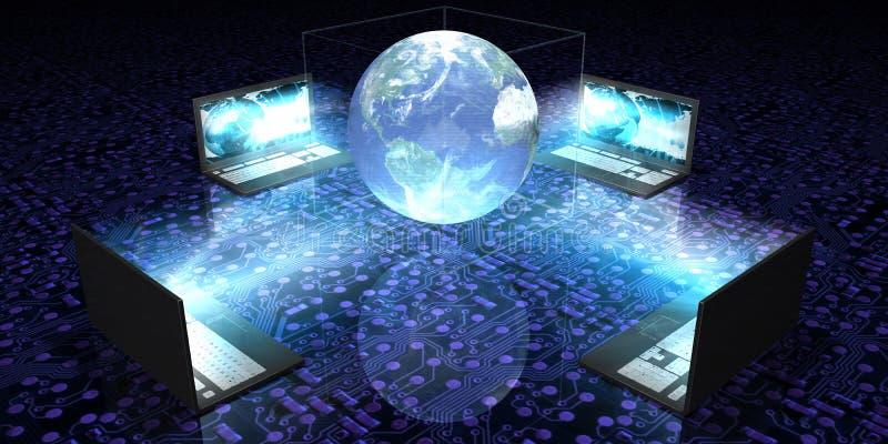 Holograma de la computadora portátil ilustración del vector