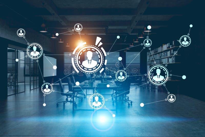 Holograma de la red en una oficina futurista foto de for Red de una oficina