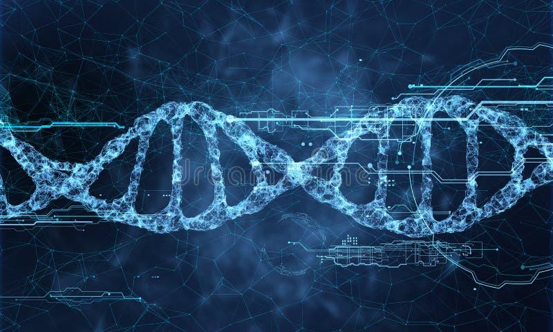 Holograma de la tecnología de la DNA ilustración del vector