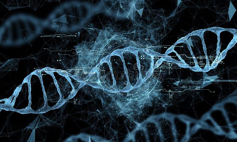 Holograma de la tecnología de la DNA stock de ilustración