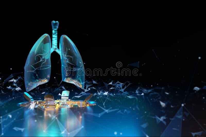 Holograma de los pulmones tuberculosis imagen de archivo