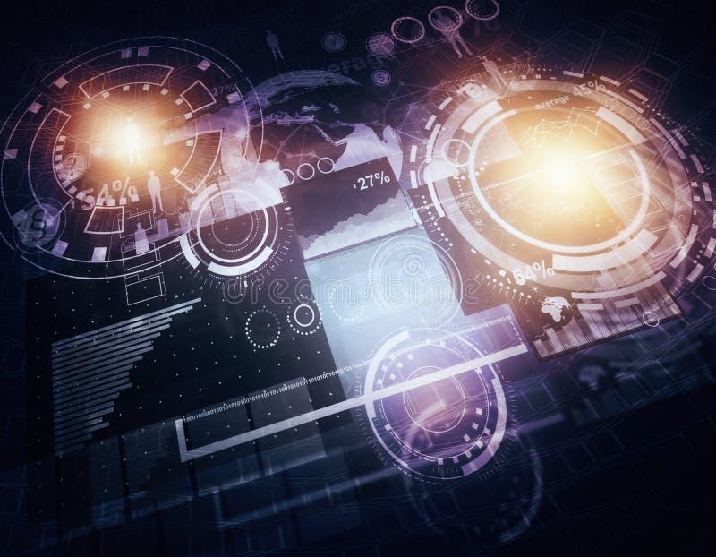Holograma del negocio que brilla intensamente ilustración del vector