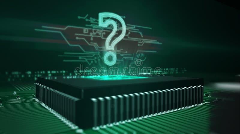 Holograma del signo de interrogación en fondo cibernético