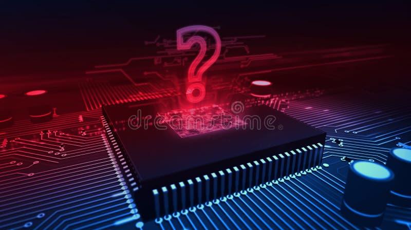 Holograma del signo de interrogaci?n en fondo cibern?tico