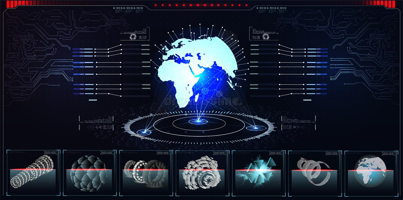 Holograma do planeta com elementos futuristas do projeto do hud com gráfico da barra e de círculo Infographic ou relação da tecno ilustração royalty free