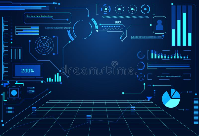 Holograma futurista da relação do hud do conceito do ui abstrato da tecnologia ilustração stock