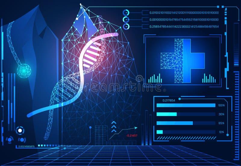 Holograma futurista del interfaz del hud del concepto del ui abstracto de la tecnología stock de ilustración