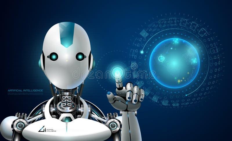 Holograma lerning esperto da tecnologia de inteligência artificial do robô ilustração stock