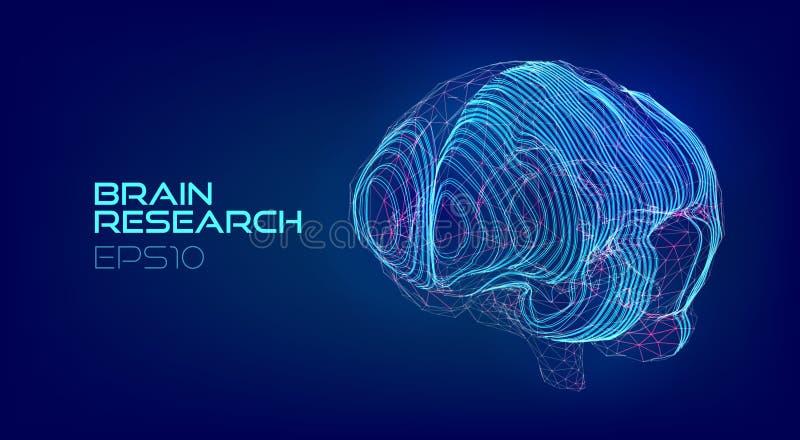 Holograma médico da exploração do cérebro Biotecnologia do Cyberpunk virtual ilustração do vetor