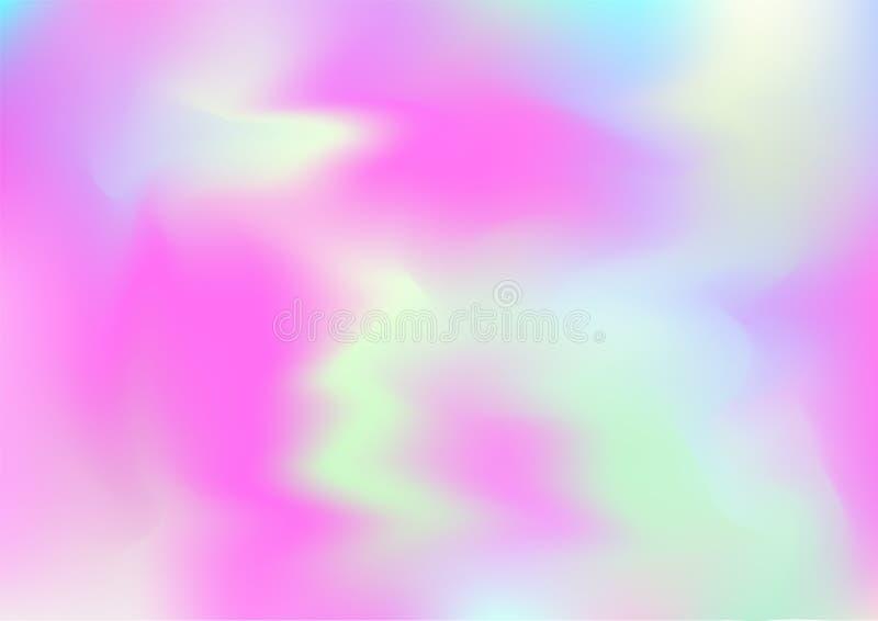 Holograma Magiczny Marzycielski Wektorowy tło Tęcza Girlie Iryzuje gradient, Holograficzna Rzadkopłynna Plakatowa tapeta royalty ilustracja