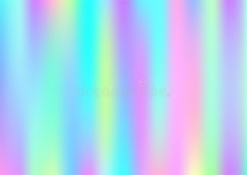 Holograma Magiczny Marzycielski Wektorowy tło Tęcza Iryzuje gradient, Holograficzna Rzadkopłynna Plakatowa tapeta Pearlescent hol ilustracja wektor