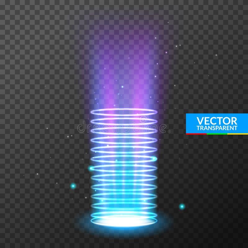 Holograma portal do efeito da luz O círculo mágico teleport o pódio Feixe do redemoinho do UFO e funil da energia do raio ilustração royalty free