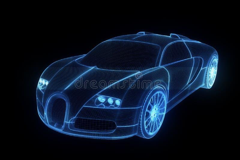 Holograma Wireframe del coche de competición Representación agradable 3D stock de ilustración