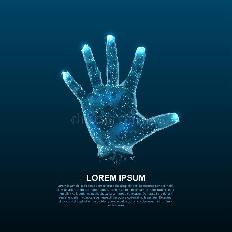 Hologramhanden van lijnen en punten Aftastenvingers Persoonlijke identificatie royalty-vrije illustratie