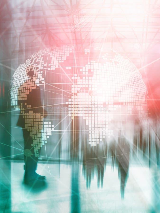 Hologramm der Erde 3D auf unscharfem Hintergrund Konzept des globalen Geschäfts und der Kommunikation Abstraktes Abdeckungs-Desig stock abbildung