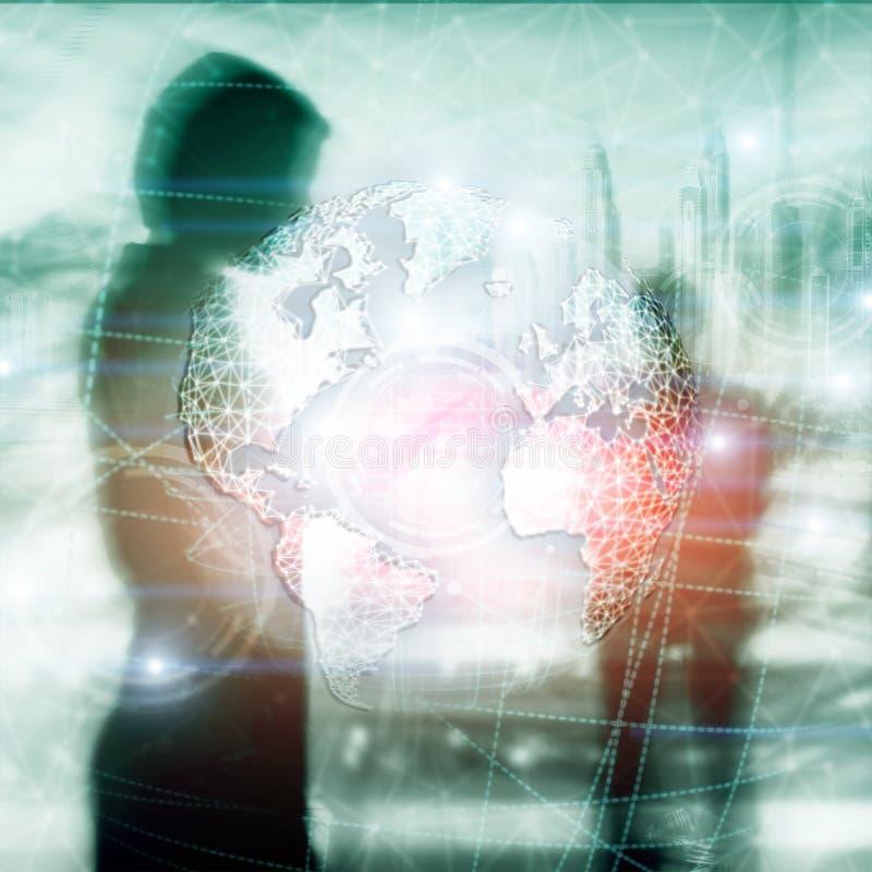 Hologramm der Erde 3D, Kugel, WWW, globales Geschäft und Telekommunikation lizenzfreie stockfotos