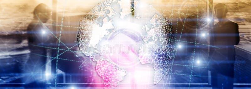 Hologramm der Erde 3D, Kugel, WWW, globales Geschäft und Telekommunikation stockfotos