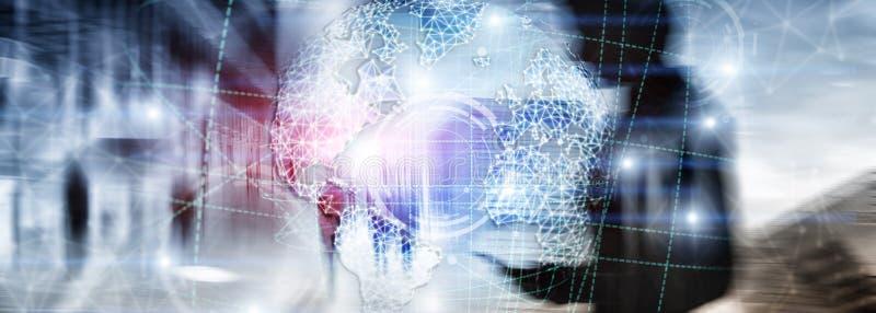 Hologramm der Erde 3D, Kugel, WWW, globales Geschäft und Telekommunikation stockfoto