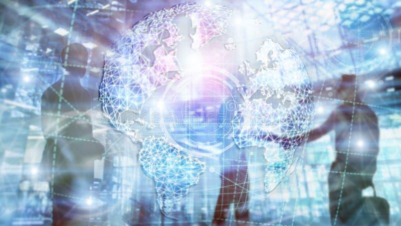 Hologramm der Erde 3D, Kugel, WWW, globales Gesch?ft und Telekommunikation lizenzfreies stockfoto