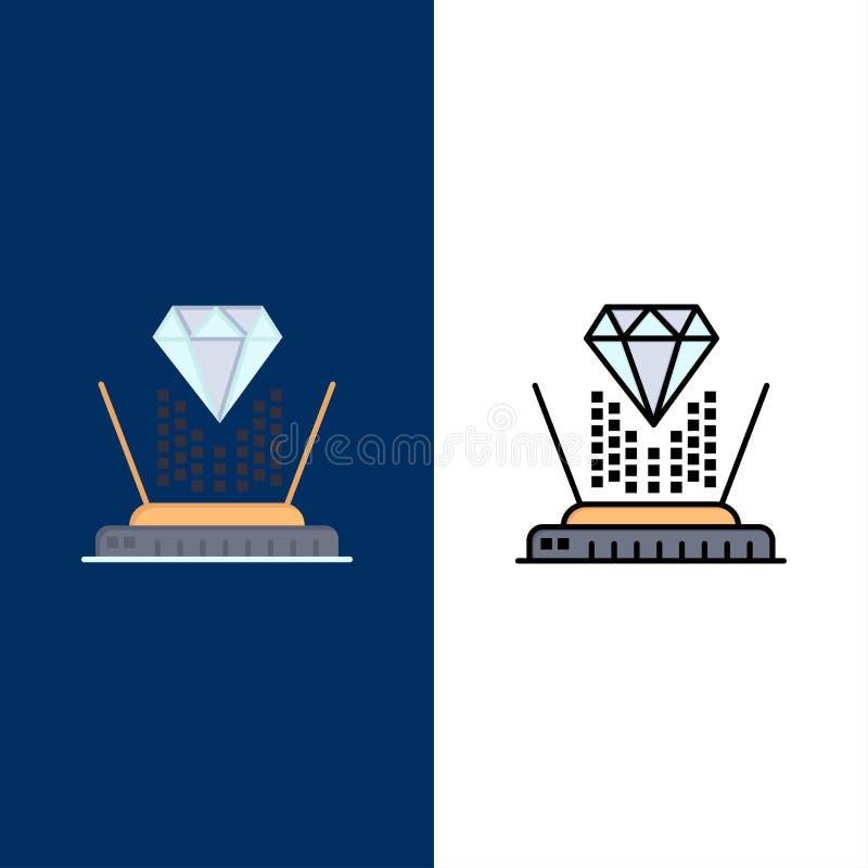 Hologramm, Projektion, Technologie, Diamond Icons Ebene und Linie gefüllte Ikone stellten Vektor-blauen Hintergrund ein vektor abbildung
