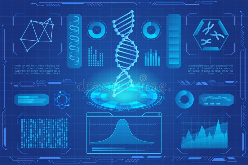 Hologramm-Vektorneonillustration DNA moderne helle Mikrobiologie, genetische Biotechnologie, Genzelle DNA-Daten-Diagramme lizenzfreie abbildung
