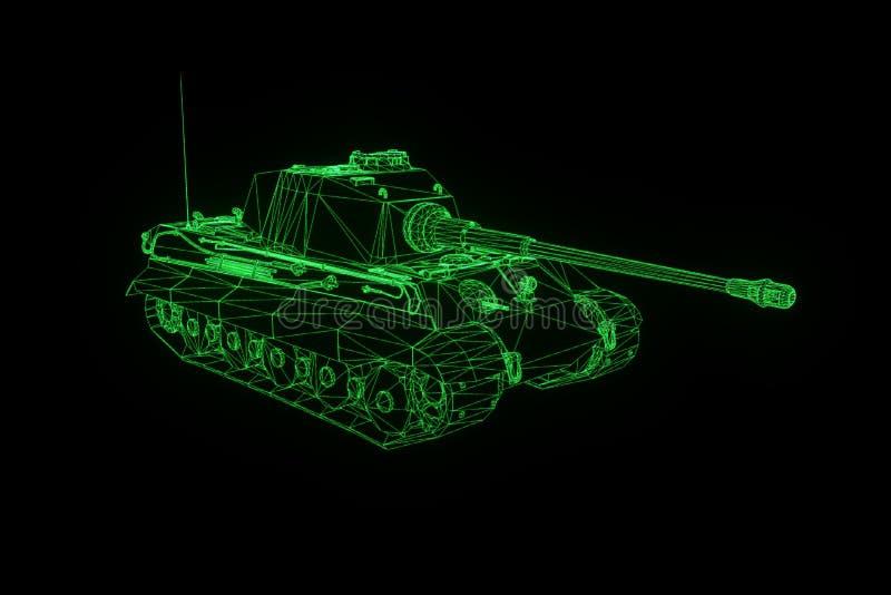Hologramm Wireframe des Behälter-3D in der Bewegung Nette Wiedergabe 3D stockfotografie