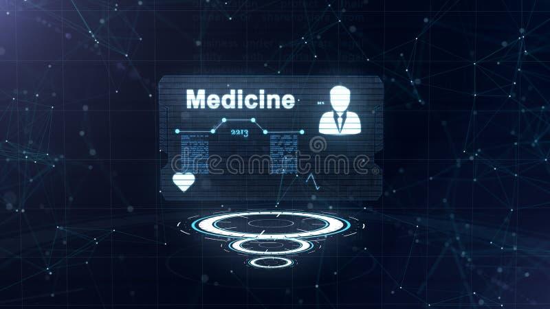 Hologramme abstrait Carte de m?decine avec le tir et le signe principaux de la fr?quence cardiaque, de la pression et de quelques illustration libre de droits